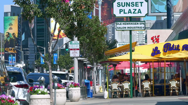 le petit four celebrities landmark restaurant on sunset strip on sunset boulevard in los angeles, california, 4k - boulevard stock videos & royalty-free footage