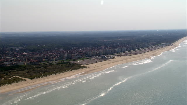 le touquet  - aerial view - nord-pas-de-calais, pas-de-calais, arrondissement de montreuil, france - calais stock videos & royalty-free footage