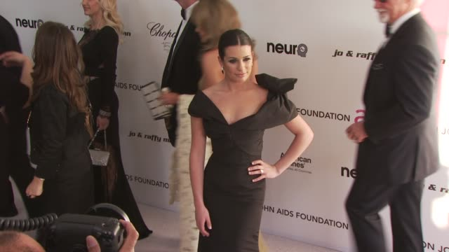 lea michele at the 18th annual elton john aids foundation oscar party at west hollywood ca. - oscar party stock videos & royalty-free footage