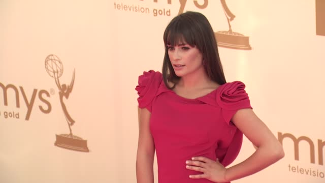 lea michele at the 63rd primetime emmy awards arrivals part 1 at los angeles ca - 63rd annual primetime emmy awards stock videos and b-roll footage