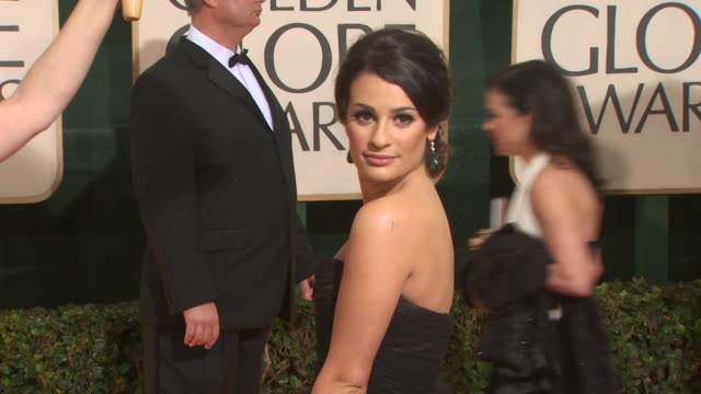 lea michele at the 67th annual golden globe awards arrivals part 3 at beverly hills ca - ゴールデングローブ賞点の映像素材/bロール