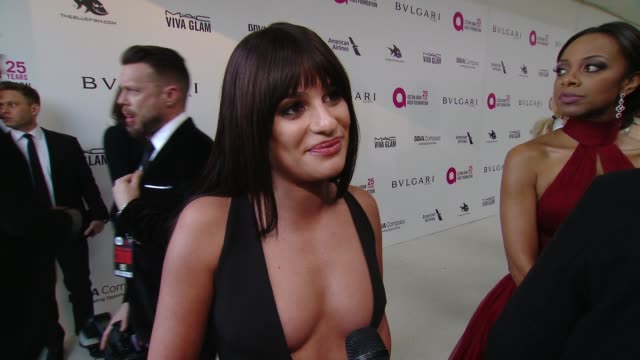 INTERVIEW Lea Michele at the Elton John AIDS Foundation Presents the 26th Annual Academy Awards Viewing Party on March 04 2018 in West Hollywood...
