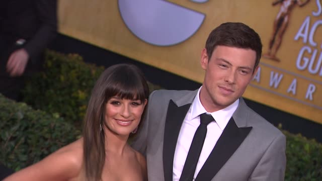 lea michele cory monteith at 19th annual screen actors guild awards arrivals on 1/27/13 in los angeles ca - cory monteith stock videos and b-roll footage