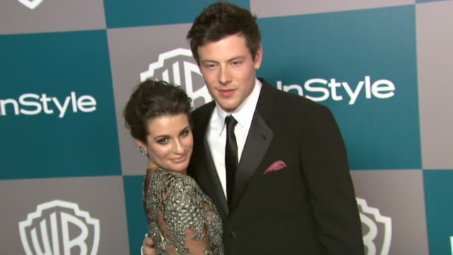 lea michele cory monteith at the 13th annual warner bros and instyle golden globe afterparty at the beverly hilton hotel on 1/15/12 in los angeles ca - cory monteith stock videos and b-roll footage