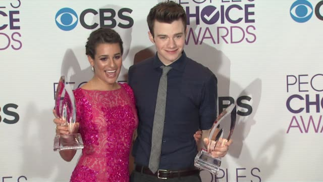 lea michelle chris colfer at people's choice awards 2013 press room on 1/9/2013 in los angeles ca - chris colfer stock videos and b-roll footage