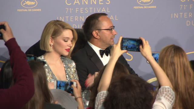 lea seydoux khadja nin at jurys's reaction to winners of the palme d'or award cannes film festival press conference the 71st annual cannes film... - international cannes film festival stock videos & royalty-free footage