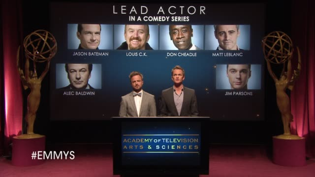 lead actor in a comedy series announcement by aaron paul and neil patrick harris at the 65th primetime emmy awards nominations announcement speech -... - emmy awards nominations stock videos & royalty-free footage