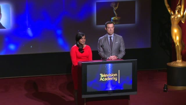 lead actor in a comedy series nominees announced by carson daly and mindy kaling - 66th primetime emmy awards nominations announcement at leonard h.... - ceremony stock videos & royalty-free footage