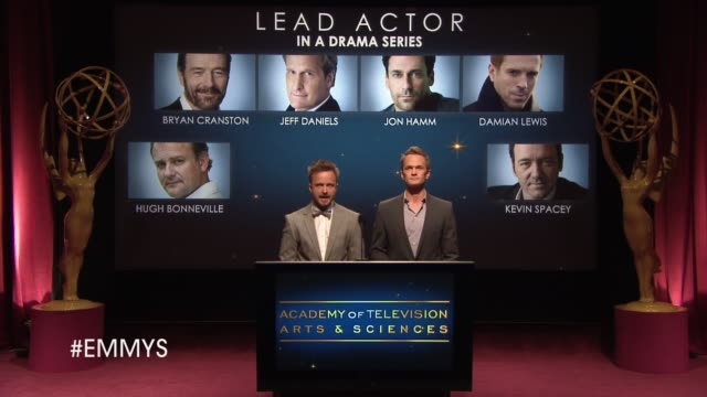lead actor in a drama series announcement by aaron paul and neil patrick harris at the 65th primetime emmy awards nominations announcement speech -... - ceremony stock videos & royalty-free footage