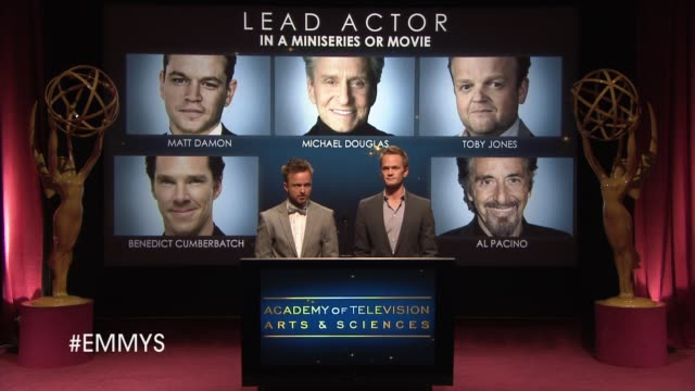 lead actor in a miniseries or movie announcement by aaron paul and neil patrick harris at the 65th primetime emmy awards nominations announcement... - emmy awards nominations stock videos & royalty-free footage