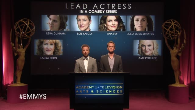 lead actress in a comedy series announcement by aaron paul and neil patrick harris at the 65th primetime emmy awards nominations announcement speech... - emmy awards nominations stock videos & royalty-free footage