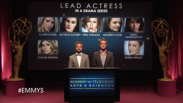 lead actress in a drama series announcement by aaron paul and neil patrick harris at the 65th primetime emmy awards nominations announcement speech -... - emmy awards nominations stock videos & royalty-free footage