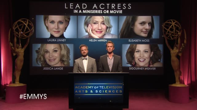 lead actress in a miniseries or movie announcement by aaron paul and neil patrick harris at the 65th primetime emmy awards nominations announcement... - emmy awards nominations stock videos & royalty-free footage
