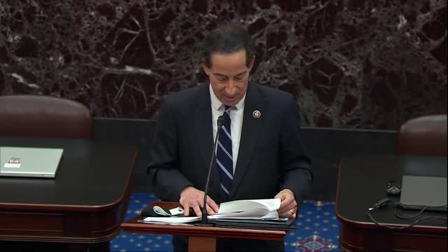 lead house impeachment manager jamie raskin of maryland reads out in conclusion of impeachment resolution that former president donald trump... - 連邦議会議員点の映像素材/bロール