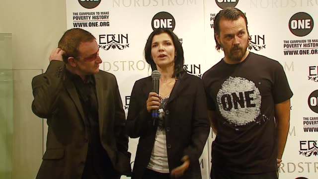U2 lead singer Bono with his wife Ali Hewson and designer Rogan Gregory announces a new line of clothing for EDUN at the Launch of New ONE TShirt by...