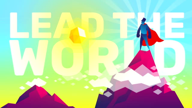 vídeos de stock e filmes b-roll de lead the world - design plano