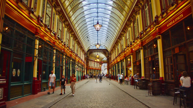 leadenhall market street. london city - victorian stock videos & royalty-free footage