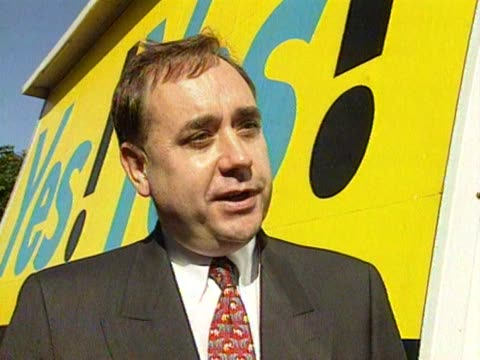 SNP leader Alec Salmond jokes at how Mrs Thatcher is helping to damage William Hague's anti devolution campaign