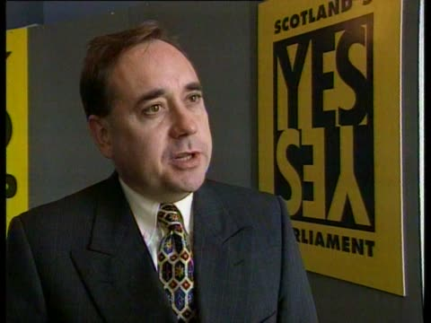 snp leader alec salmond talks about people wanting more humility in politics and how a scottish parliament would be a people's parliament - humility stock videos and b-roll footage