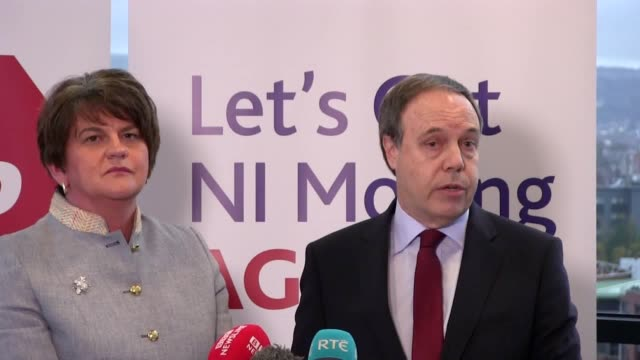 leader arlene foster and deputy leader nigel dodds launch their party's policy document in belfast. the leaders commented on a row over loyalist... - dup stock-videos und b-roll-filmmaterial