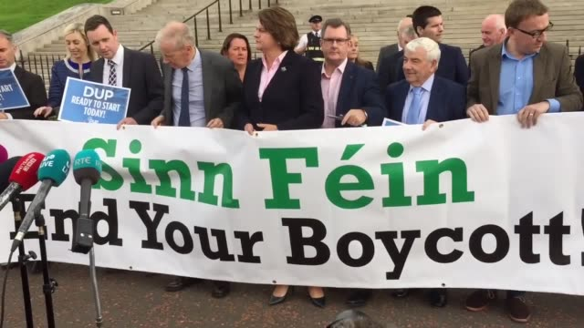 "leader arlene foster calls on sinn fein to end its ""boycott"" on stormont as northern ireland reaches 589 days without government - a global milestone... - dup stock-videos und b-roll-filmmaterial"