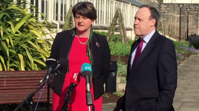 dup leader arlene foster said she wanted to get into government as quickly as possible speaking with the deputy leader nigel dodds on the grounds of... - ストーモント点の映像素材/bロール
