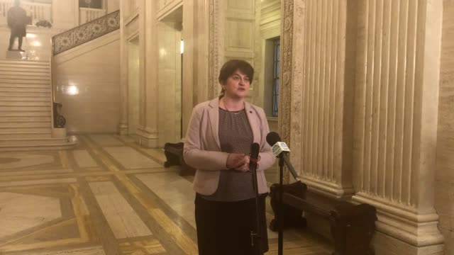 vídeos y material grabado en eventos de stock de leader arlene foster says one culture cannot be put above another in any deal in reply to sinn fein's comments about an irish language act. - provincia de ulster