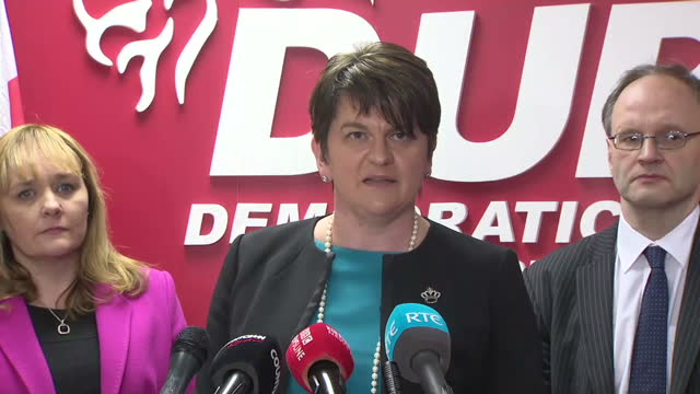 leader arlene foster says she has been 'disgracefully maligned in the most vicious way.' northern ireland is facing a divisive election that may not... - dup stock-videos und b-roll-filmmaterial