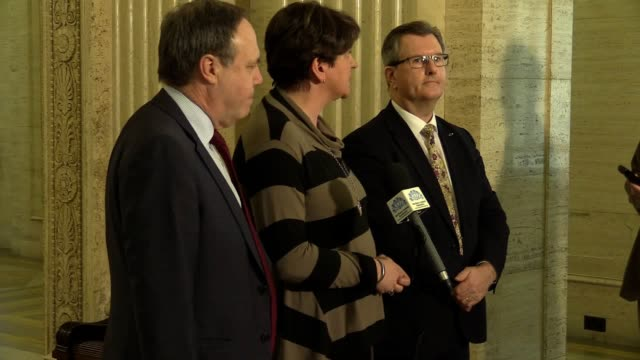 leader arlene foster with deputy leader nigel dodds and mp jeffrey donaldson at stormont in belfast following the confirmation that talks on the... - dup stock-videos und b-roll-filmmaterial