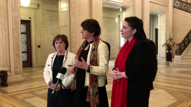 leader arlene foster with party colleagues diane dodds mep, paul frew mla, gordon lyons mla, and emma little-pengelly mp in the great hall in... - mep stock videos & royalty-free footage