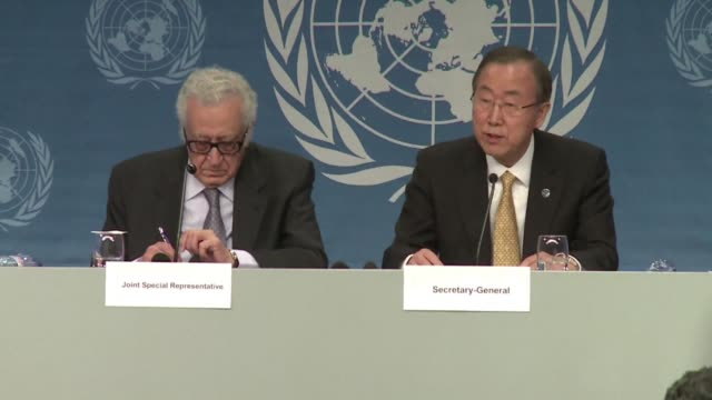 leader ban ki-moon tells syria's warring sides at a peace conference in switzerland on wednesday that the time has come for negotiations to end the... - montreux stock videos & royalty-free footage