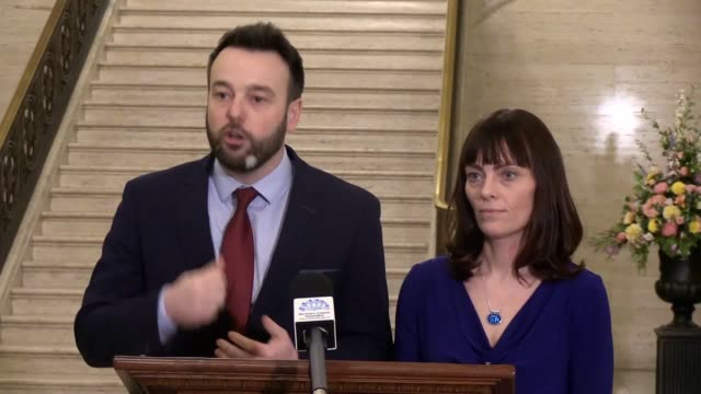 leader colum eastwood confirms his party will back the draft deal to bring back powersharing in northern ireland. the sdlp the dup, sinn fein... - ulster province stock videos & royalty-free footage
