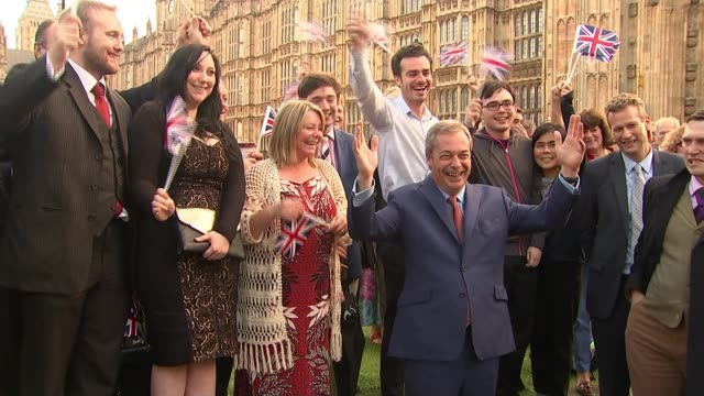 Leader Henry Bolton splits with girlfriend in racist message row DATE Nigel Farage celebrating with UKIP supporters outside Houses of Parliament