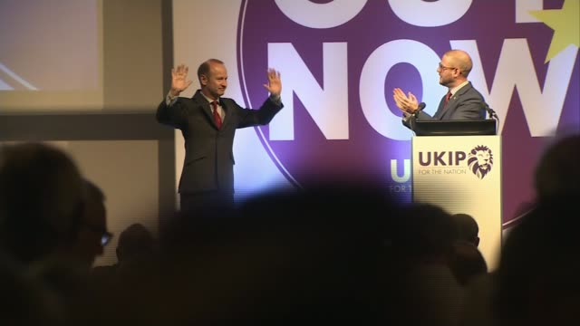 Leader Henry Bolton splits with girlfriend in racist message row LIB / 1412018 Torquay INT *** WARNING Henry Bolton along on stage to applause