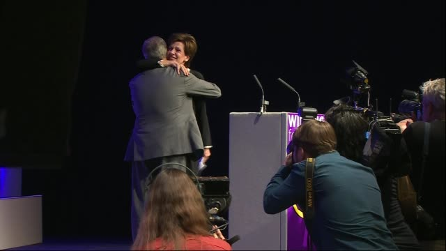 UKIP leader Henry Bolton under pressure over girlfriend's racist messages LIB / Bournemouth INT Diane James MEP along to stage / James hugging Nigel...