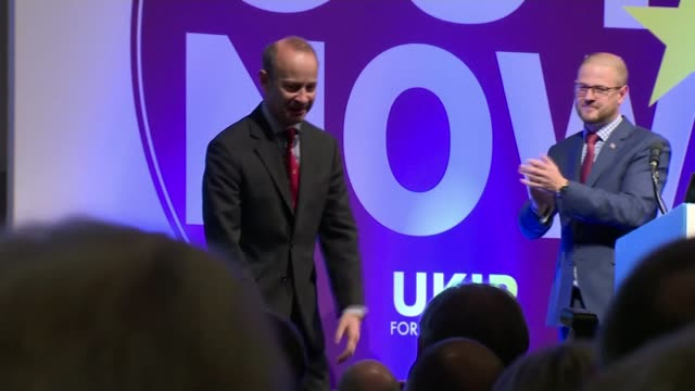 UKIP leader Henry Bolton under pressure over girlfriend's racist messages R290917017 / Devon Torquay INT Paul Oakden announcing results of UKIP...