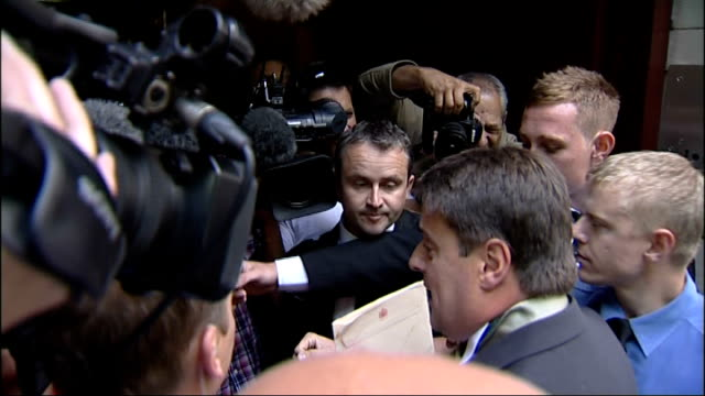 bnp leader nick griffin arrival at millbank england london millbank ext nick griffin mep leader british national party out of car as along thru press... - griffin stock videos & royalty-free footage