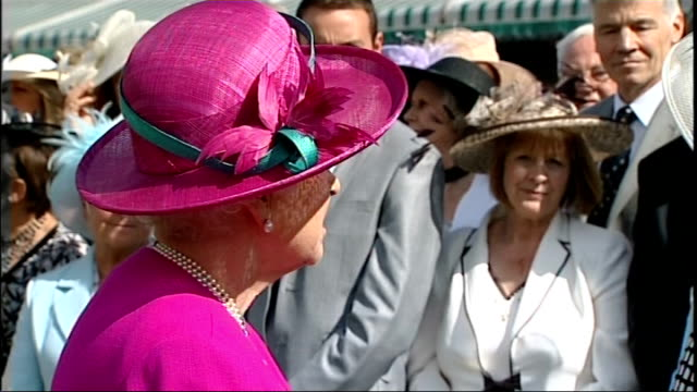 BNP Leader Nick Griffin banned from Buckingham Palace garden party LIB / 1472009 Queen Elizabeth II chatting to guests at garden party Side view of...