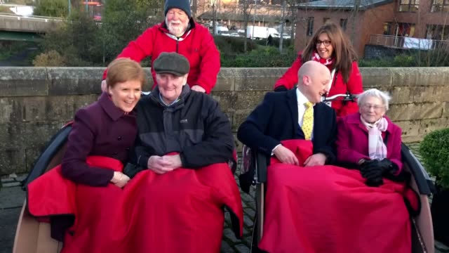 snp leader nicola sturgeon took her party's general election campaign to hawick in the scottish borders sturgeon met with supporters and chatted to... - bicycle seat stock videos & royalty-free footage