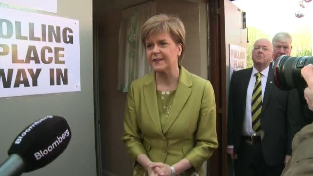 SNP leader Nicola Sturgeon votes in Britains general election as the Scottish National Party looks set for a landslide victory north of the border in...