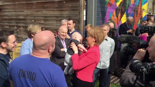 SNP leader Nicola Sturgeon with sixmonthsold Ollie Lynch during the launch of the party's local government election manifesto at the Whale Arts...