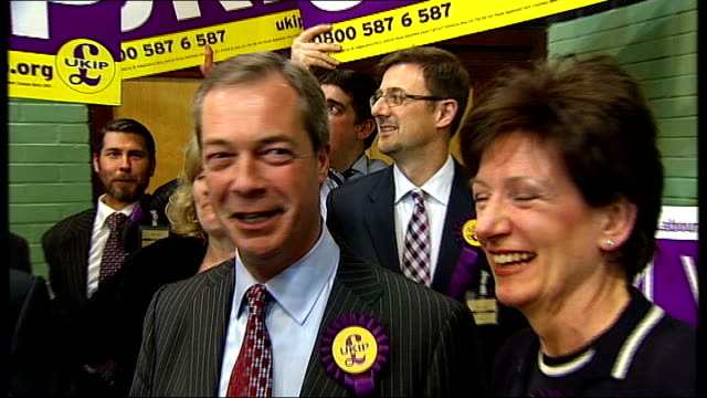 ukip leader nigel farage admits tax haven mistake 132013 / t01031326 eastleigh nigel farage smiling as standing at eastleigh byelection count with... - diane james politik stock-videos und b-roll-filmmaterial