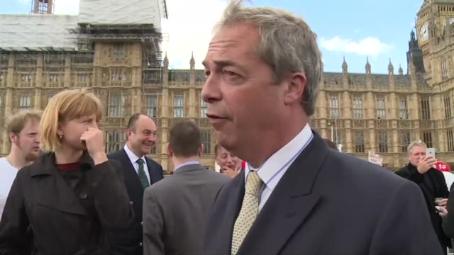 leader nigel farage calls on british prime minister david cameron to provide an honest argument about the eu rather than an endless series of... - 2016 european union referendum stock videos & royalty-free footage