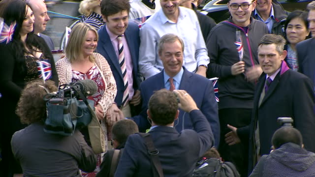 leader nigel farage celebrating victory and greeting supporters after britain votes to leave the european union - nigel farage stock videos & royalty-free footage
