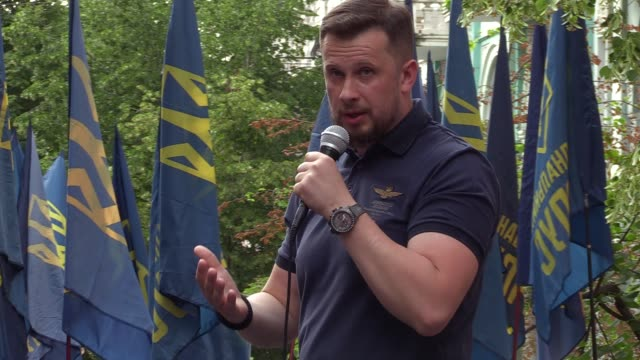 leader of political party national corps andriy biletsky speaks during a rally of far-right activists of 'national corps' political party called... - political party stock videos & royalty-free footage