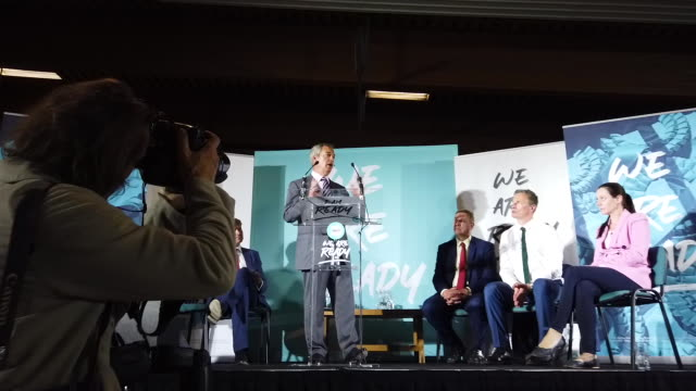 leader of the brexit party nigel farage addresses party members and delegates at the lincolnshire county showground during the brexit party... - brexit party stock videos & royalty-free footage
