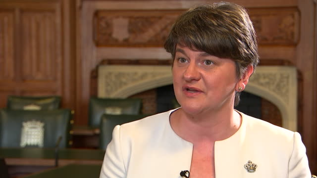 leader of the democratic unionist party; arlene foster outlines in an interview, how the dup will assist prime minister theresa may in government if... - democratic unionist party 個影片檔及 b 捲影像