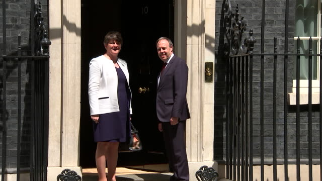 leader of the democratic unionist party; arlene foster turns up at number 10 downing street ahead of talks with prime minister theresa may to form an... - dup stock-videos und b-roll-filmmaterial