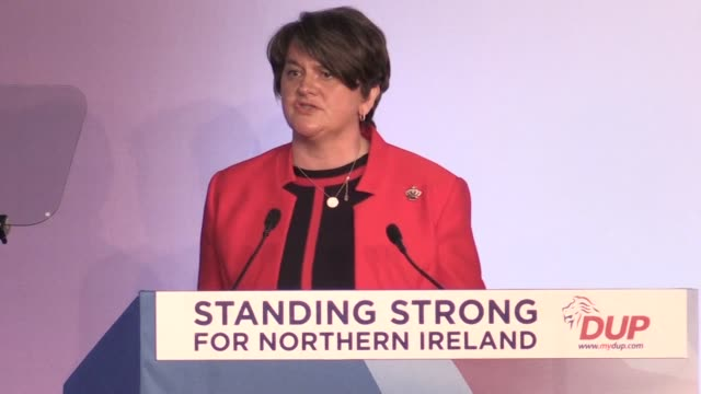 leader of the dup arlene foster says the draft brexit agreement does not deliver on pm theresa may's key commitments at the conference of the... - prime minister video stock e b–roll