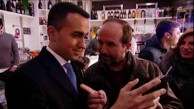 Leader of the Five Star Movement Luigi Di Maio greeting supporters in Naples Italy